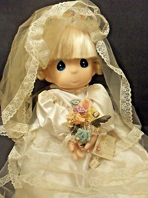 "Precious Moments Doll Rare Giant Size 27""!  Vintage Bride With Lacy Wedding Gown"
