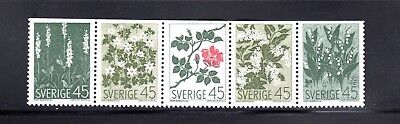 Sweden 1968 Wild Flowers strip of 5 SG 552a MH