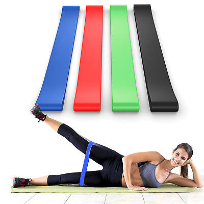 BEST Set of 4 Home Fitness Exercise Bands For Whole Body Strength Training Rehab