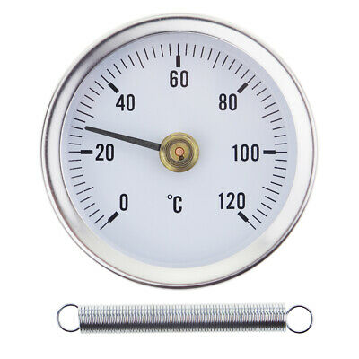 Hot Water Pipe Thermometer 0-120°C 63 Mm Dial Bimetal Temperature Gauge In-022