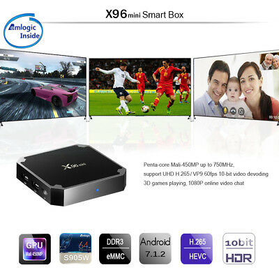 X96mini Smart TV Box Android 7.1.2 Quad-Core 1Go+8Go 2.4GHz WiFi H.265 100M LAN