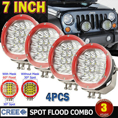 4x 7inch 7200W Round CREE LED Work Driving Light Spot Flood Offroad 4x4WD Truck