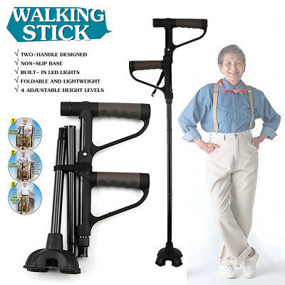 2-Handle Adjustable Walking Stick Cane Alpenstock Foldable With LED Light Strap