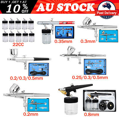 Airbrush Kit Spray Gun Art Tattoo Make Up Air Brush 0.2/0.25/0.3/0.35/0.5/0.8mm