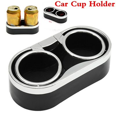 Universal Car SUV Mount Dual Black Cup Holder Drink Bottle Adhesive+ 2 Top Rings