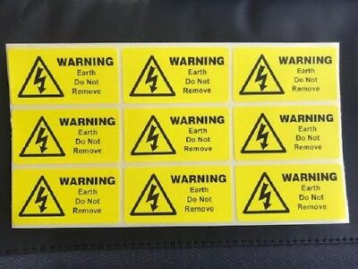 9 x Warning Earth Do not remove.  labels, electrical stickers 49 x 25mm FREE P&P