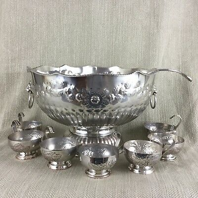 Large Silver Plate Punch Bowl Cups & Ladle Set Lion Mask Handles Embossed