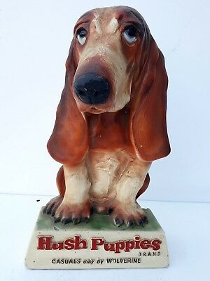 """Rare Vintage Hush Puppies shoes Advertising Store Display 14"""" tall,Plaster,dog"""