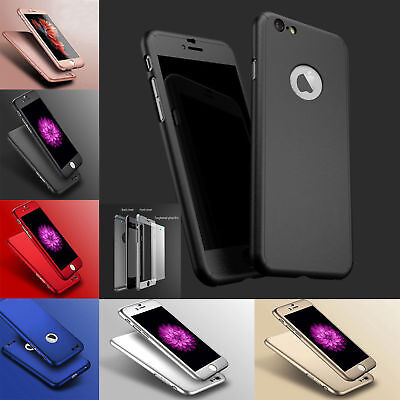 Acrylic Hard Hybrid 360° Case Cover With Tempered Glass For Apple iPhone Models