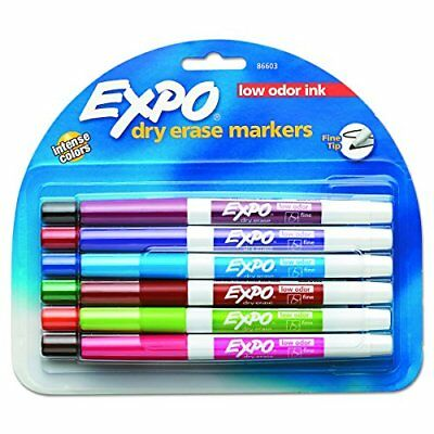 ❤ Expo Low-Odor Dry Erase Markers, Fine Point, Assorted Colors, 12-Count ❤ New