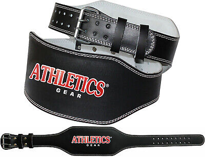 "Weight Lifting 6"" Leather Belt Back Support Strap Gym Fitness Training Athletics"