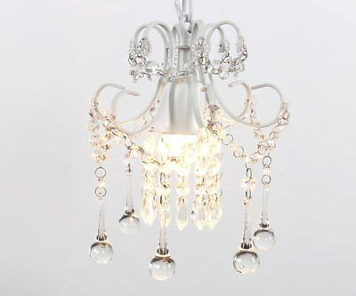 Elegant Vintage Crystal Chandelier Lighting Mini Ceiling Pendant One Light White