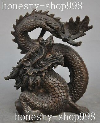 Lucky Old chinese FengShui Bronze Auspicious Zodiac Dragon Beast success Statue