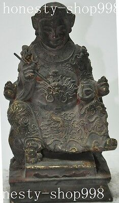 "8""Chinese buddhism fane old Wood carving Female Mammon Fortuna god Statue"
