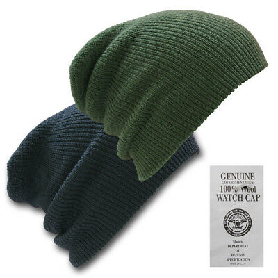 Genuine 100% Wool Beanie Hat Us Army Watch  Cap Outdoor Army Head Wear Black Oli
