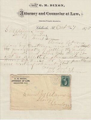 1875 Chillicothe Illinois Envelope Cover With Letter G.M. Dixon Attorney At Law
