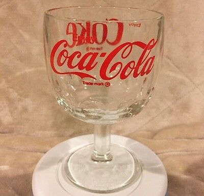 VTG Enjoy Coca Cola Coke Soda Clear Thumbprint Goblet Chalice Glass Mug Cup Pop