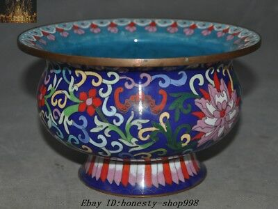 Old Chinese Dynasty Bronze Cloisonne Bat flower Pot Bowl spittoon cuspidor