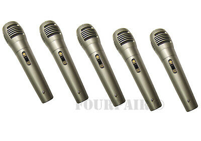5 Pack Lot, Dynamic Uni-Directional Wired Microphone Mic 10ft Cord DJ PA Karaoke