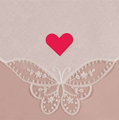 Wedding Valentine Love Heart Coloured Heart Printed Lace Butterfly Handkerchief