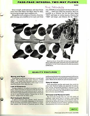 John Deere F835 F845 Integral 2 Way Plows Sales Manual /Brochure 1964 8110E