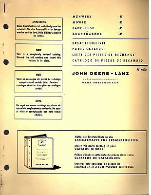 John Deere Spare Parts Catalog 45 Mower 1965 8137E