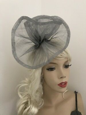 Fascinator Silver Grey Gray Sinamay Wedding Hat Formal Ladies Ascot Headpiece