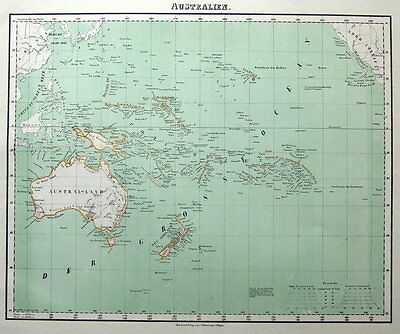 AUSTRALIA, NEW ZEALAND, PACIFIC Fleming original coloured antique map 1855