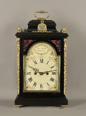 FINE VERGE EBONISED BRACKET CLOCK - Joseph Wood , Bristol