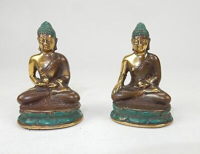 Pair of Antique South East Asian Gilt Bronze Buddha Statues 2.5""