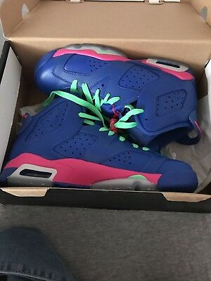 meet 0e477 92b13 Nike Air Jordan VI Retro 6 Game Royal Pink 543390-439 GS Sz 4-