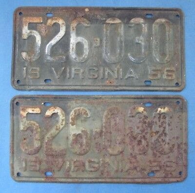 1956 Virginia License Plates matched pair cheap