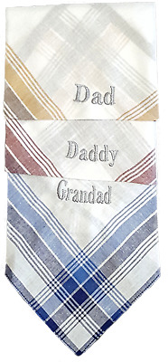 Mens Cotton Check Handkerchief Hankies Personalised Name Fathers Day Birthday
