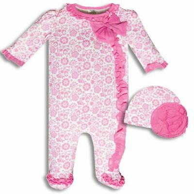 Baby Essentials Pink Flower and Heart Baby Girl Sleeper Outfit w/ Baby Hat Set