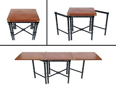 Vintage Drexel Et-Cetera Walnut Faux Bamboo Expandale Gateleg Server Table 60's