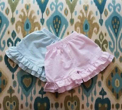 New! Girl Double Ruffle Seersucker Shorts, Pink & Mint Colors, Icing Shorts