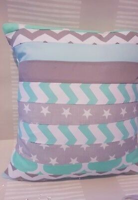handmade patchwork cushion cover grey stars chevrons zigzags mint green nursery