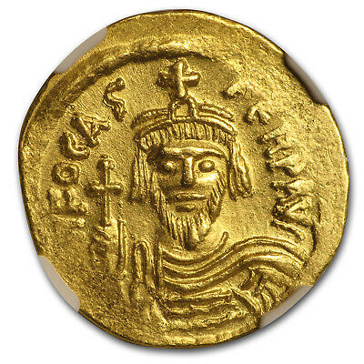 Byzantine Gold Solidus Emperor Phocas (602-610 AD) MS NGC - SKU#161494