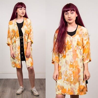 Vintage Beige & Yellow Womens Floral Print Womens Shirt 3/4 Sleeve Casual 20