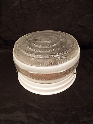 Vintage Ceiling Mount Light Fixture - Round Art Deco Frosted White & Clear  9""