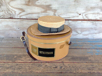 Vintage 1920's Stetson Straw Flat Top Boater Hat in Original Box