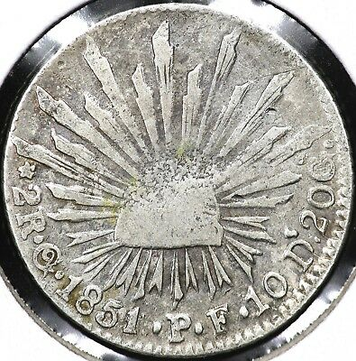 1851Go-PF TWO 2 REALES MEXICO