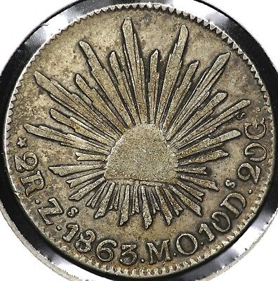 1863Zs-MO TWO 2 REALES MEXICO
