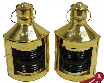 """10"""" PORT and STARBOARD OIL LAMPS - Ship Lantern - BRASS"""