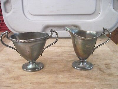 PS Co. SilverPlate Sugar Bowl and Cream Pitcher, Small-Hold approx. 1/2 cup