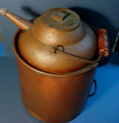 Vintage Antique Original Large Copper Oil can for fuel etc.14 inches tall