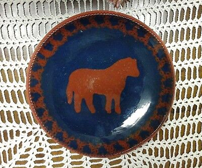 "Foltz Red Ware 1983 Horse Plate 9.75"" Pie Crust Edge"