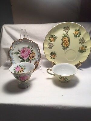 (2) Vintage Lefton China Tea Cup & Snack Plates Luster Shell Shaped & Floral