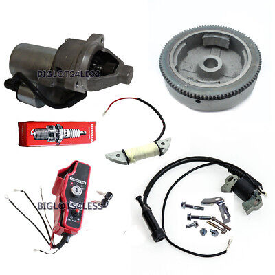 Honda Gx390 13Hp Electric Start Kit Flywheel Starter Charge Ignition Coil Switch