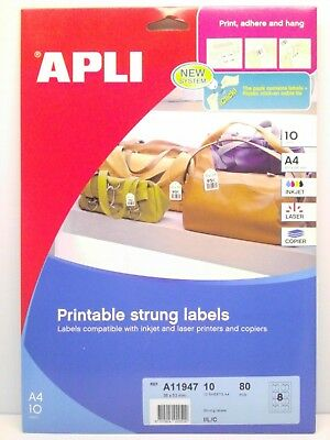 APLI Printable Strung Labels 36 x 53mm x 80 in A4 Sheets - String Price Tags